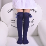 3 Pairs Children's Tube Socks Mesh Bow Princess Socks Square Grid Over Knee Socks, Size:43cm(Navy)
