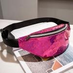 Women Sequins Laser Waist Pack Multi-functional Sports Chest Waist Bag(Purple)