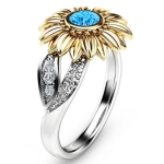 Fashion Female Cute Sunflower Crystal Rings for Women, Ring Size:11(Sea blue)