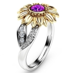 Fashion Female Cute Sunflower Crystal Rings for Women, Ring Size:5(Purple)