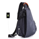 Multifunction Fashion Men Crossbody Bags Chest Pack  Messengers Bag Waterproof Shoulder Bag with USB Charging Port(Blue-L)