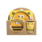 Baby Dish Tableware Set Cartoon Fork Feeding Dishes for Kids Utensils Natural Bamboo Fiber Bowl With Cup Spoon Plate(Yellow Bee)