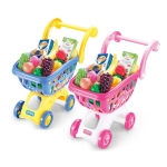 Kids Pretend Play Toy Simulation Supermarket Shopping Cart Toys with Fruits Model Gift for Kids(Random Color)