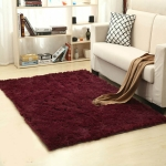 Shaggy Carpet for Living Room Home Warm Plush Floor Rugs fluffy Mats Kids Room Faux Fur Area Rug, Size:80x120cm(Wine Red)