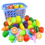 Pretend Play Plastic Food Toy Cutting Fruit Vegetable for Children, Random Color and Style 23 PCS / Set