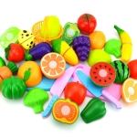 Pretend Play Plastic Food Toy Cutting Fruit Vegetable for Children, Random Color and Style 18 PCS / Set
