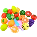 Pretend Play Plastic Food Toy Cutting Fruit Vegetable for Children, Random Color and Style 15 PCS / Set