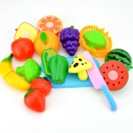 Pretend Play Plastic Food Toy Cutting Fruit Vegetable for Children, Random Color and Style 12 PCS / Set
