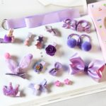 2 PCS Child Elastic Hair Clips Kids Xmas Gift(Purple)