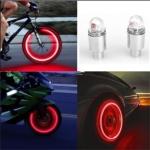 2 PCS Bike Supplies Neon Strobe LED Tire Valve Caps lights