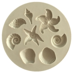 2 PCS  Marine Element Mould Sea Star Conch Shell Model Silicone Cake Fondant Tool(Gray)