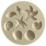 2 PCS  Marine Element Mould Sea Star Conch Shell Model Silicone Cake Fondant Tool(Gray)