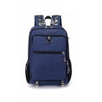 Men Fashion Multifunction Oxford Casual Laptop Backpack School Waterproof Travel Bags, with USB Charging Port, Color:Blue