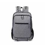 Men Fashion Multifunction Oxford Casual Laptop Backpack School Waterproof Travel Bags, with USB Charging Port, Color:Gray
