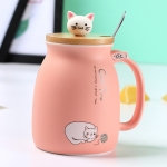 Creative Cat Heat-Resistant Mug Cartoon 450ml Kitten Coffee Ceramic Mugs Drinkware(Pink)
