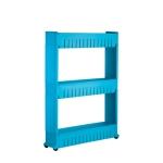 2 PCS Multipurpose Shelf with Removable Wheels Crack Rack Storage Rack Shelf Multi-layer Refrigerator Side Shelf(Blue 3 layers)