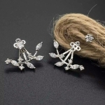 Leaf Crystals Stud Earring For Women(Silver)