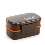 Latticed Double-Decked Plastic Lunch Box With Buckles(Coffee)