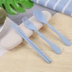 Children Spoon Fork Chopsticks Portable Three-Piece Set(Blue)