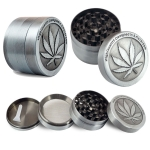 2 PCS Weed Grinder Metal Stainless Steel Maple leaf Type Herbal Herb Tobacco Grinder, Size:50MM 4 laryers