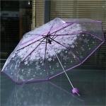 2 PCS Cherry Blossom Transparent Triple-fold Umbrella Individual Folding Umbrella(Purple)