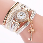 Round Small Dial Diamond-plated Ring Bracelet Quartz Watch with Key Pendant(WHITE)