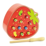 Kids Wooden Toys Catch Worms Games with Magnetic Stick Montessori Educational Creature Blocks Interactive Toys(Strawberry)