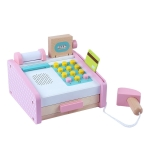 Children Educational Toys Wooden Simulation Cash Register Shopping Pretend Play Toy for Kits Gift