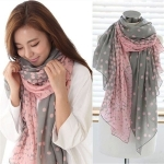 Ladies Gradient Dot Printed Chiffon Scarf, Length: 160cm x 60cm(Pink)