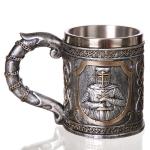 3D Viking Skull Coffee Beer Mug Skull Mug Beer Wine Drink Gift Stainless Steel Knight Decorative Cup for Men Mug