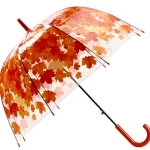 Green Leaf Transparent Umbrella Straight Rod Crooked Umbrella(Red)