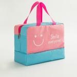 Fashion Men And Women Travel Waterproof Storage Bag Oxford Cloth Travel Bag Swimming Bag Beach Bag(Pink Smiley Face)