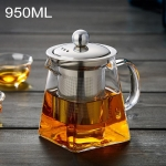 Stainless Steel Clear Heat Resistant Glass Filter Tea Pot, Capacity: 950ml