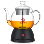 Household Glass Automatic Steam Electric Kettle Cooking Teapot (Printed Black)