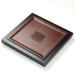 Square Bamboo Tea Tray with Hollow Design, Size: 41 x 41 x 4.3cm