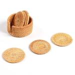 7 in 1 Handmade Bamboo Anti-scalding Round Cup Mat Set