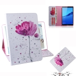 Purple Orchids Pattern Horizontal Flip Leather Case for Huawei MediaPad M5 Lite 8 / Honor Tab 5, with Holder & Card Slot & Wallet