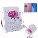 Purple Orchids Pattern Horizontal Flip Leather Case for Huawei MediaPad M5 Lite 10.1, with Holder & Card Slot & Wallet