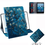 Apricot Blossom Pattern Horizontal Flip Leather Case for Amazon Kindle Fire HD 8 2015/2016/2017/2018, with Holder & Card Slot & Wallet