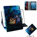Oil Owl Pattern Horizontal Flip Leather Case for Amazon Kindle Fire HD 8 2015/2016/2017/2018, with Holder & Card Slot & Wallet