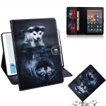 Wolf and Dog Pattern Horizontal Flip Leather Case for Amazon Kindle Fire HD 10 2015/2017, with Holder & Card Slot & Wallet
