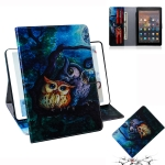Oil Owl Pattern Horizontal Flip Leather Case for Amazon Kindle Fire HD 10 2015/2017, with Holder & Card Slot & Wallet