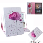 Purple Orchids Pattern Horizontal Flip Leather Case for Amazon Kindle Fire HD 10 2015/2017, with Holder & Card Slot & Wallet