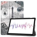 Cowhide Texture Retro Iron Tower Pattern Colored Drawing Horizontal Flip Leather Case for Huawei Mediapad M6 10.8, with Holder