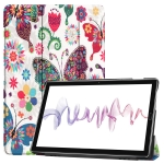 Cowhide Texture Butterfly Pattern Colored Drawing Horizontal Flip Leather Case for Huawei Mediapad M6 10.8, with Holder