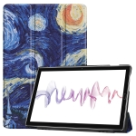 Cowhide Texture Starry Sky Pattern Colored Drawing Horizontal Flip Leather Case for Huawei Mediapad M610.8, with Holder