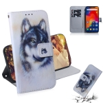 White Wolf Pattern Coloured Drawing Horizontal Flip Leather Case for Xiaomi Redmi Note 6 / Redmi Note 6 Pro, with Holder & Card Slots & Wallet