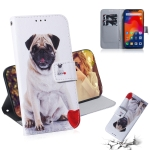 Pug Pattern Coloured Drawing Horizontal Flip Leather Case for Xiaomi Redmi Note 6 / Redmi Note 6 Pro, with Holder & Card Slots & Wallet