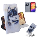 White Wolf Pattern Coloured Drawing Horizontal Flip Leather Case for Xiaomi Redmi Note 7, with Holder & Card Slots & Wallet