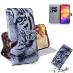 Tiger Pattern Coloured Drawing Horizontal Flip Leather Case for Xiaomi Redmi Note 7, with Holder & Card Slots & Wallet
